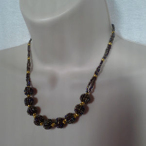 Womens necklace 17 inches Beads Brown Gold